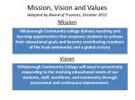 mission vision and values adopted by board of trustees october 2012