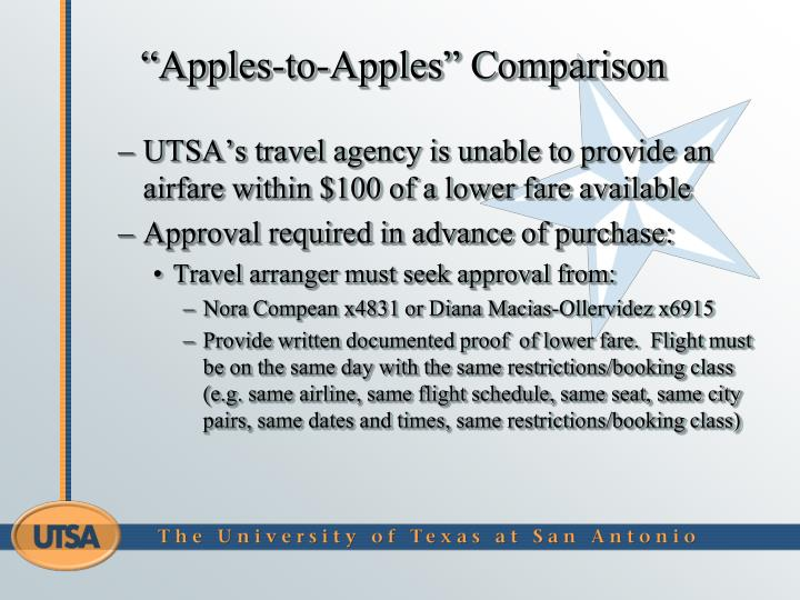 """Apples-to-Apples"" Comparison"