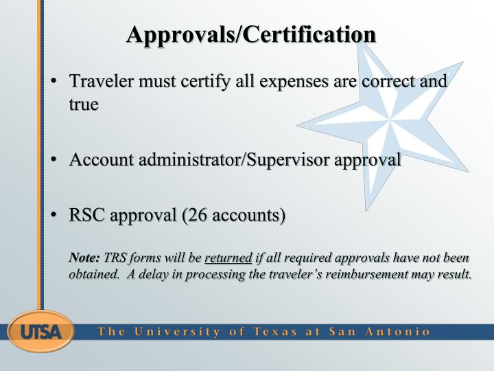 Approvals/Certification