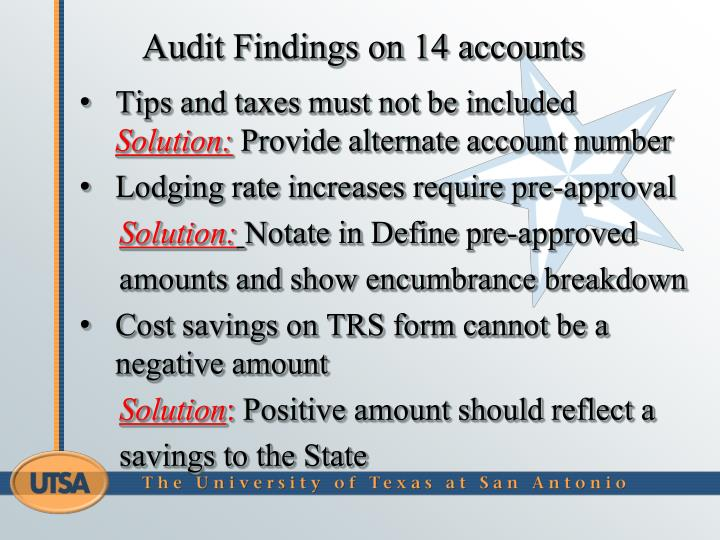 Audit Findings on 14 accounts