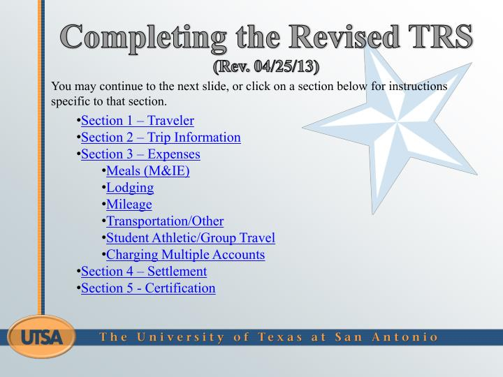 Completing the Revised TRS