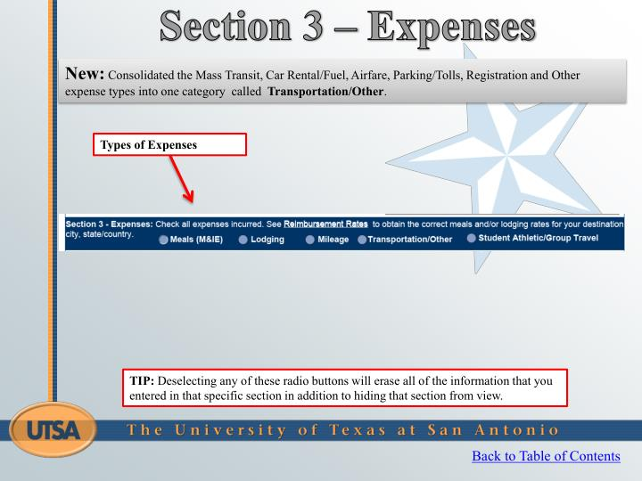 Section 3 – Expenses