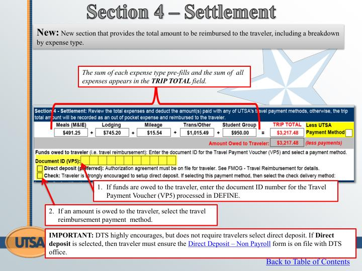 Section 4 – Settlement