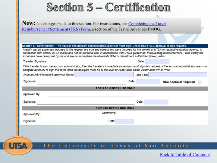 Section 5 – Certification
