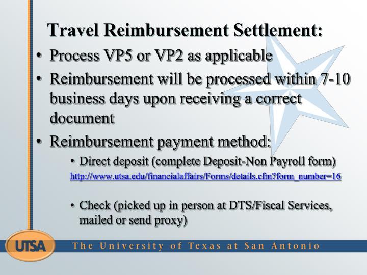 Travel Reimbursement Settlement:
