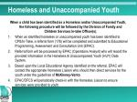 homeless and unaccompanied youth
