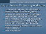 intro to federal contracting workshops