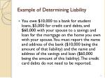 example of determining liability