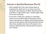 interests in specified businesses part e1