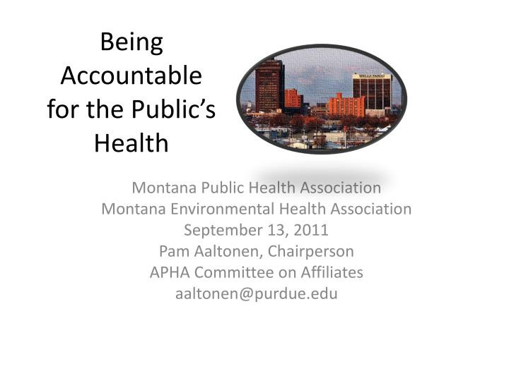 being accountable for the public s health n.
