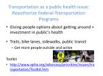 transportation as a public health issue reauthorize federal transportation programs