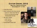 gator growl 2012 ben hill griffin stadium november 9 th at 7pm