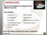 deposits cont