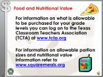 food and nutritional value
