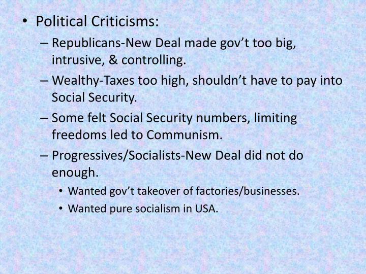 Political Criticisms: