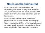 notes on the uninsured