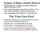 origins of mass health reform