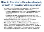 rise in premiums has accelerated growth in provider administration