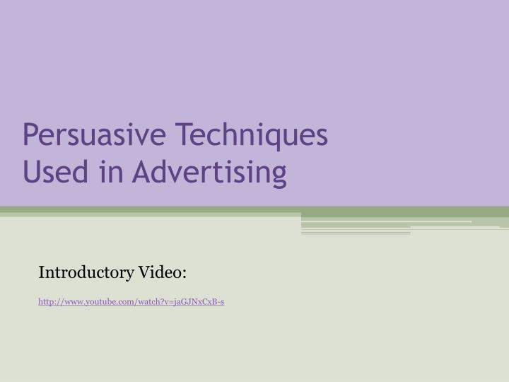 persuasive techniques used in advertising n.