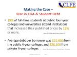 making the case rise in coa student debt