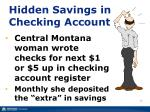 hidden savings in checking account