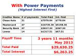 with power payments highest interest first