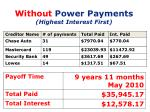 without power payments highest interest first