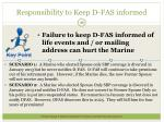 responsibility to keep d fas informed