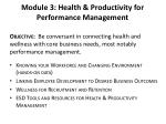 module 3 health productivity for performance management
