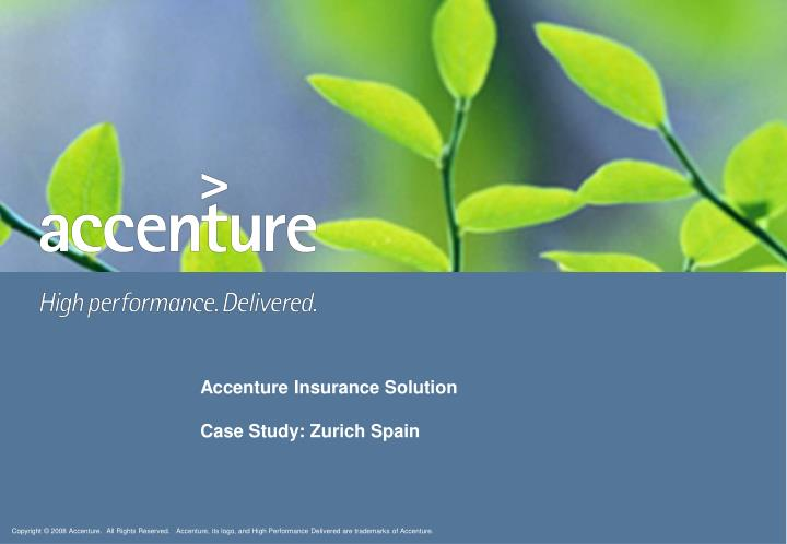 accenture insurance solution case study zurich spain n.