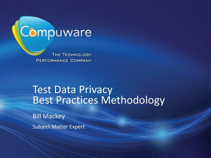test data privacy best practices methodology n.