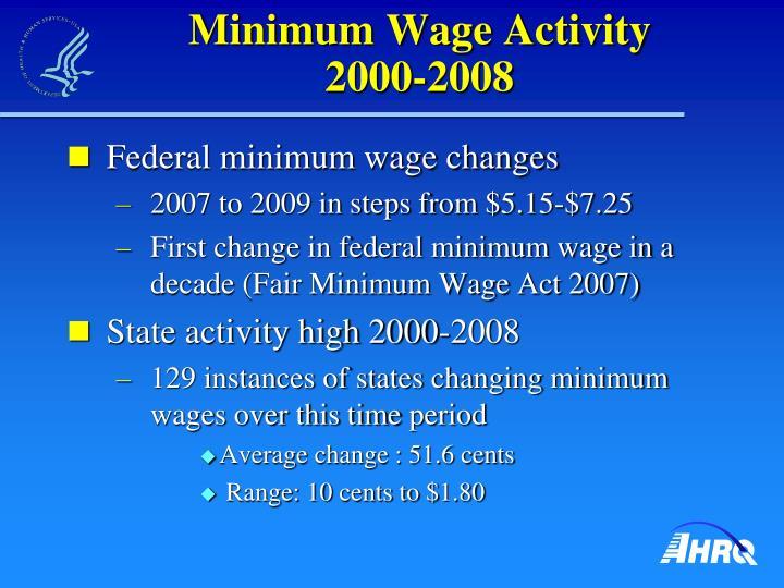 Minimum wage activity 2000 2008