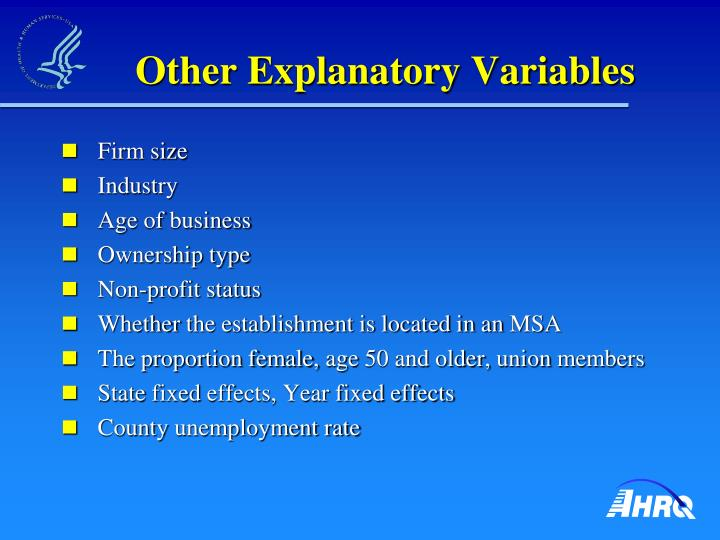 Other Explanatory Variables