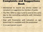complaints and suggestions book