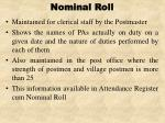 nominal roll