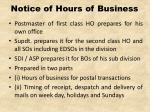 notice of hours of business