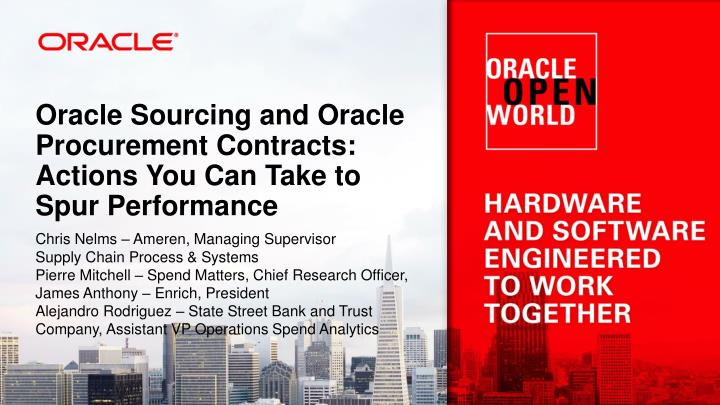 oracle sourcing and oracle procurement contracts actions you can take to spur performance n.
