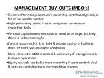 management buy outs mbo s