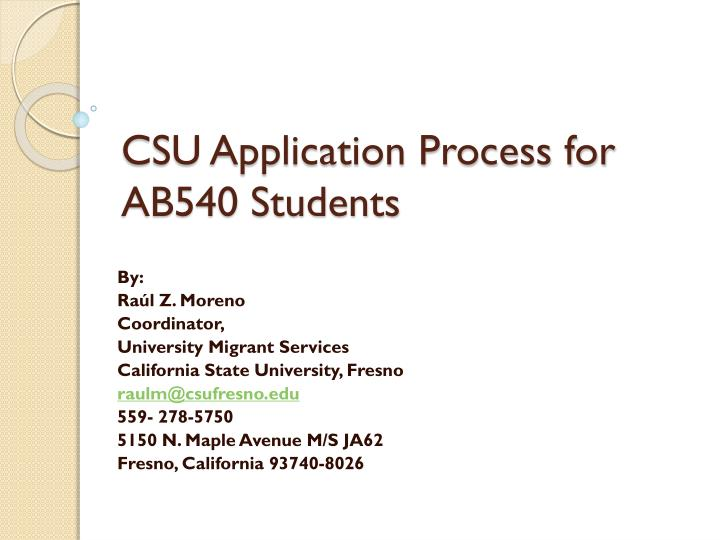 csu application process for ab540 students n.