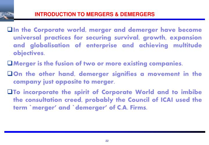 INTRODUCTION TO MERGERS & DEMERGERS