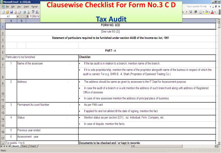 Clausewise Checklist For Form No.3 C D