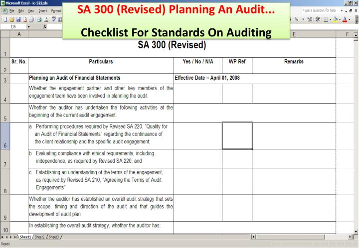 SA 300 (Revised) Planning An Audit...