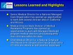 lessons learned and highlights1