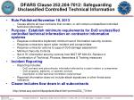 dfars clause 252 204 7012 safeguarding unclassified controlled technical information