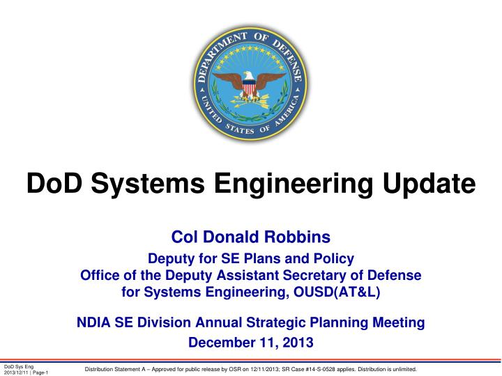 dod systems engineering update n.
