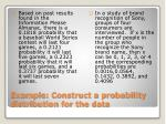 example construct a probability distribution for the data