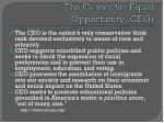 the center for equal opportunity ceo