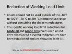 reduction of working load limit