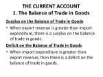 the current account 1 the balance of trade in goods2