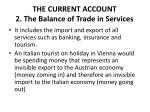 the current account 2 the balance of trade in services1